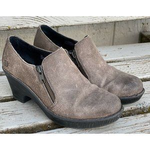 BORN Double Zip Ankle Boots Distressed Gray Suede